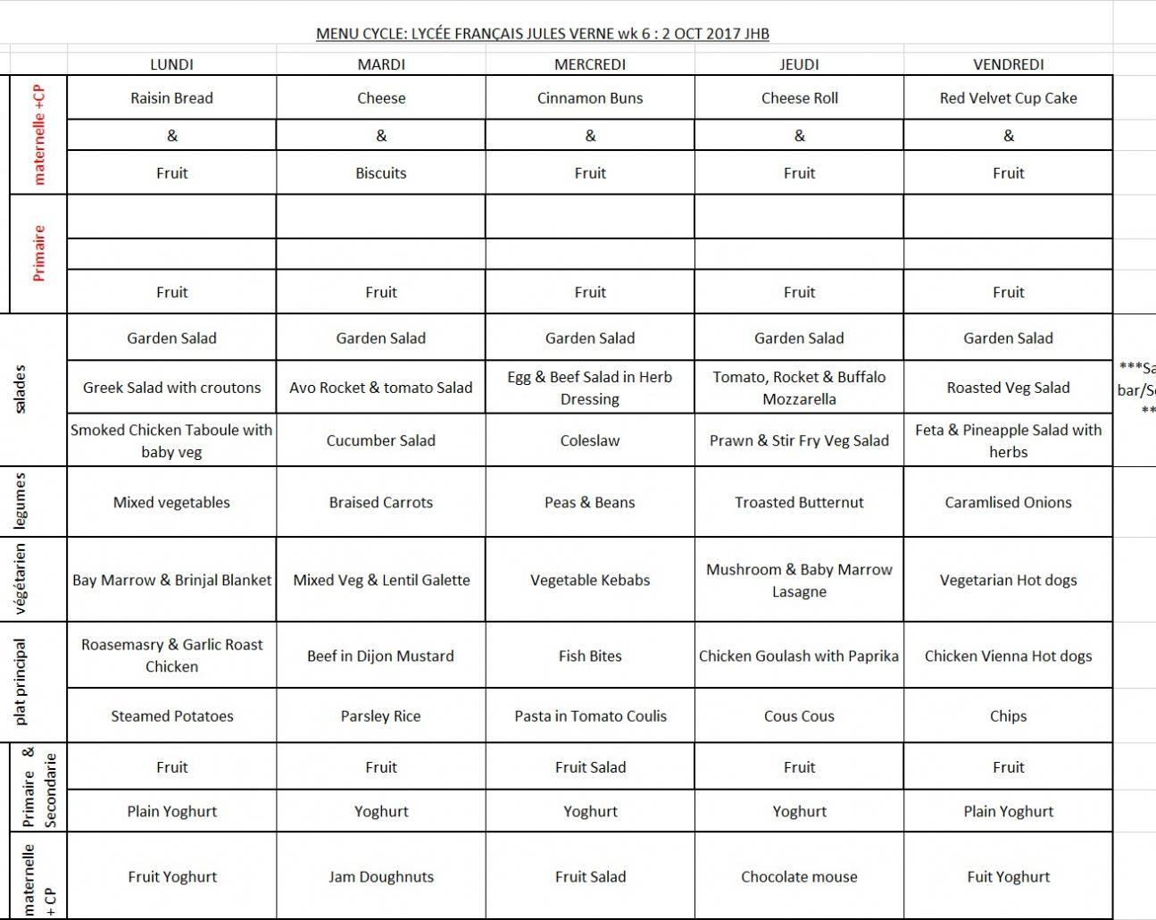 Menu JHB WEEK 6 - 2 OCT