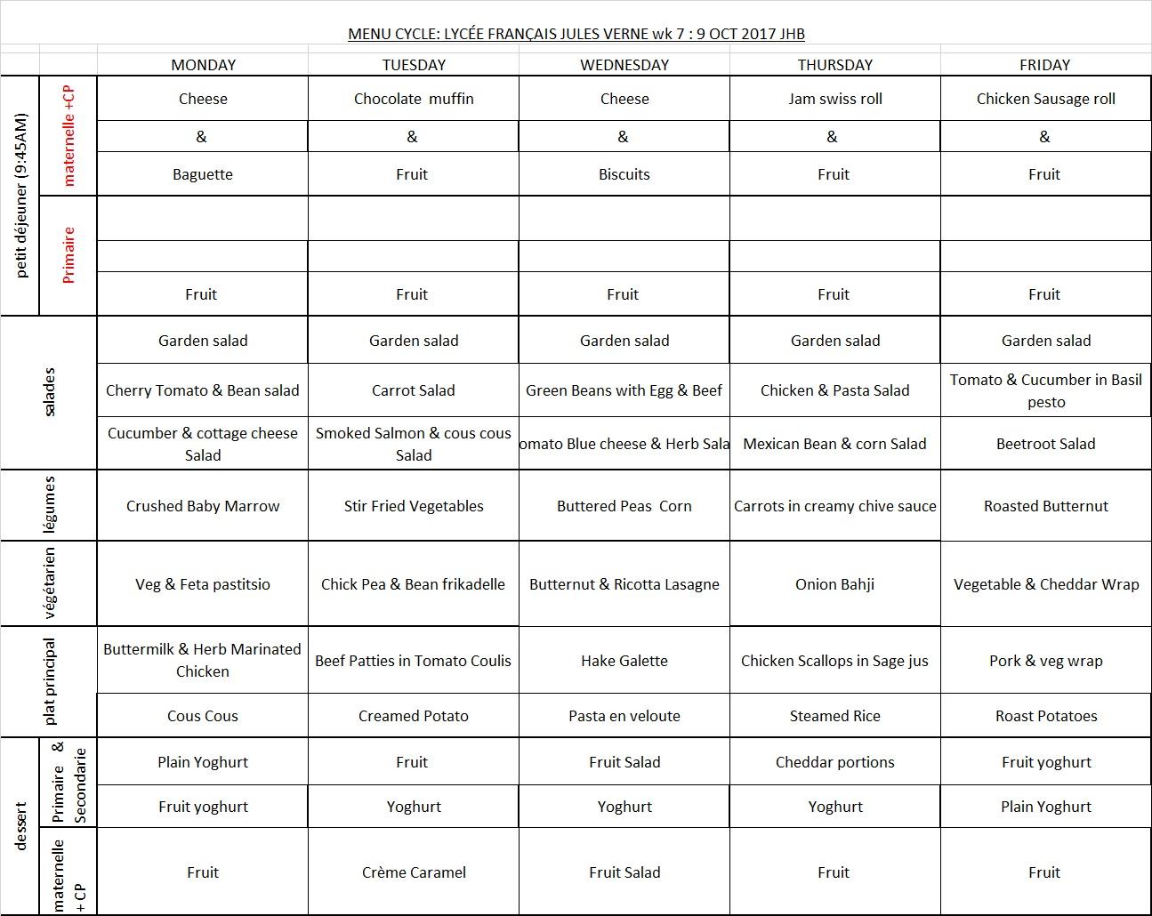 Menu JHB WEEK 7 - 9 Oct