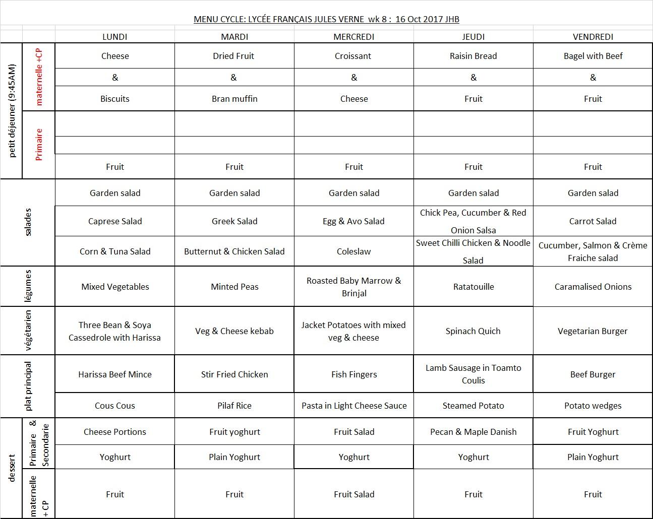 Menu JHB WEEK 8 - 16TH OCT