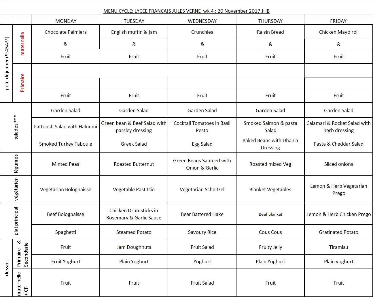 Menu Week 4 - 20 NOV