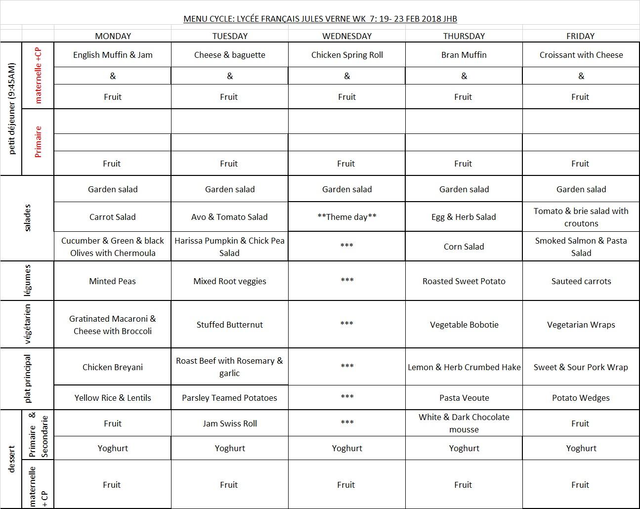 MENU WEEK 7 19-23 FEB