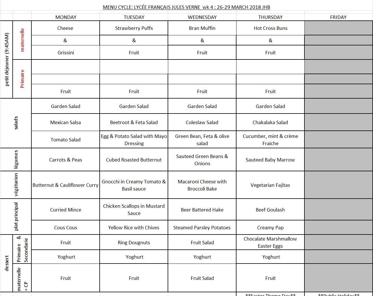 MENU JHB - WEEK 4 - 26 MARCH