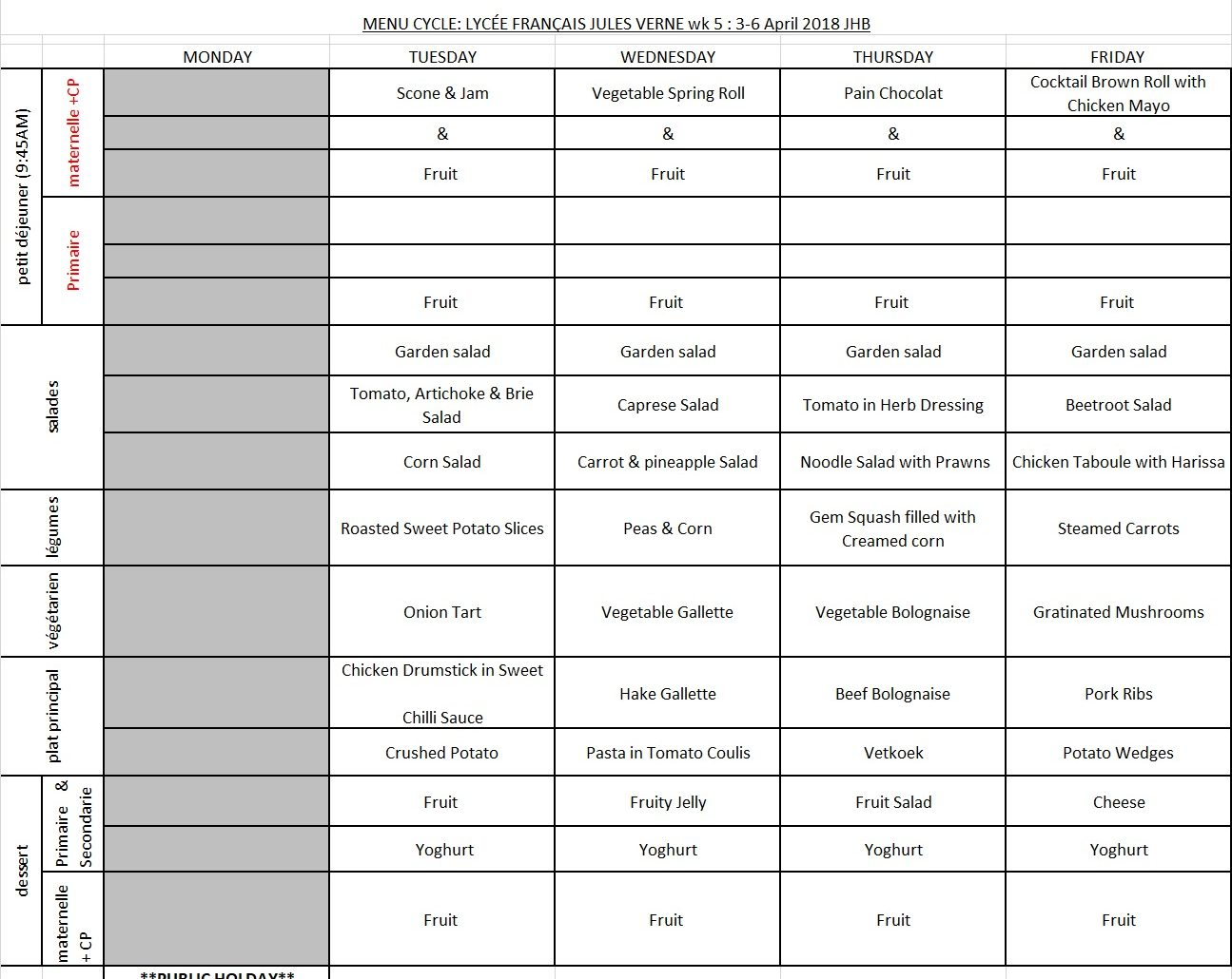 MENU JHB - WEEK 5 - 3 APRIL