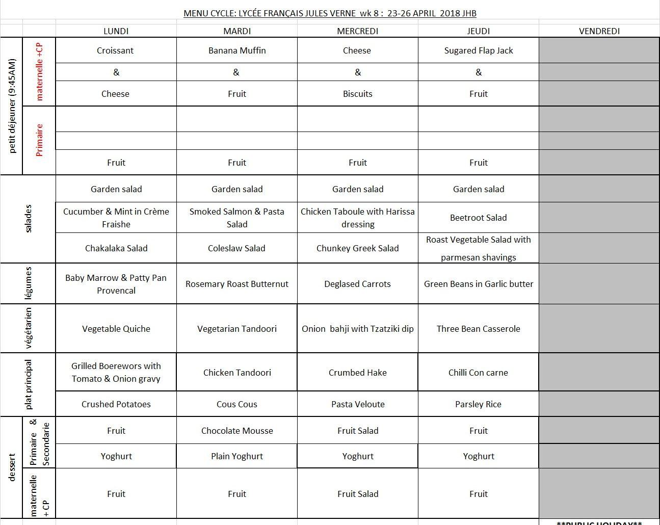 MENU WEEK 8 - JHB - 23 APRIL